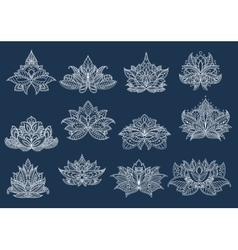 Paisley flowers with oriental openwork ornament vector