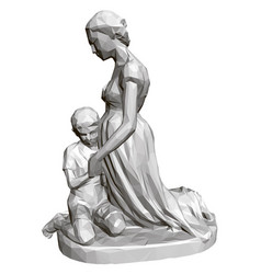 polygonal statue praying woman and children 3d vector image
