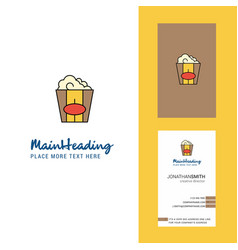 pop corn creative logo and business card vertical vector image