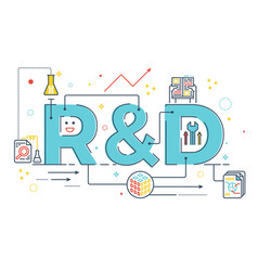 Rd research and development word lettering vector