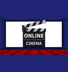 realistic cinema movie theater interior online vector image