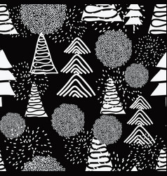 seamless pattern white christmas trees and vector image