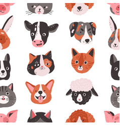 seamless pattern with cute animals heads and faces vector image