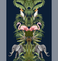 seamless pattern with tropical animals in jungle vector image