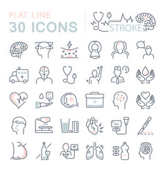 set flat line icons stroke vector image