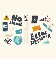 Set icons no wifi signal theme network error vector