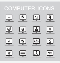 set of 16 web icons for computer electronics vector image