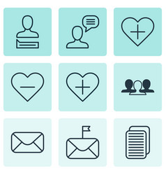 Set of 9 social icons includes talking person vector
