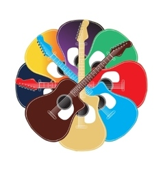 set of colored acoustic guitars vector image