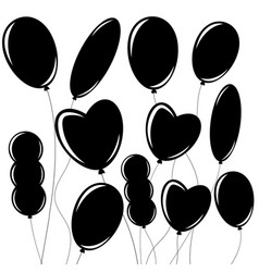 Set of flat isolated black silhouettes of vector