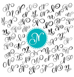 set of hand drawn calligraphy letter n vector image