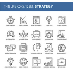 set of thin line flat icons strategy vector image