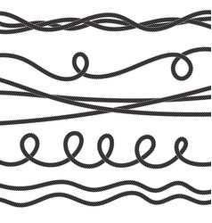 set of twisted rope icon or cordage with loops vector image