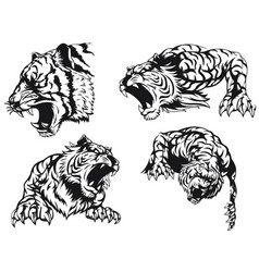 silhouette angry tiger roaring head vector image