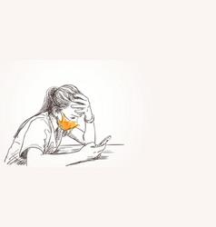 Sketch teenage girl portrait in face mask vector