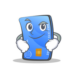 Smirking credit card character cartoon vector