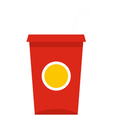 Soft drink in a red paper cup icon isolated vector