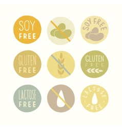 Soy gluten lactose free signs vector image