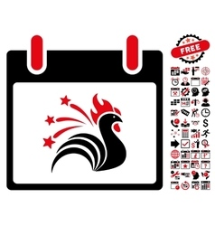 Sparkle Rooster Calendar Day Flat Icon With vector image