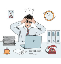 stress at work young businessman vector image