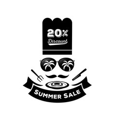 Summer sale discount with sunglassescook hat and vector