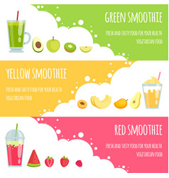 summer smoothie horizontal banners of various vector image