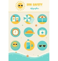Sun and beach safety rules infographics icons set vector