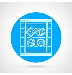 Sushi blue round icon vector