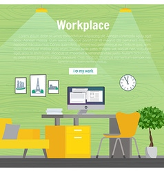 Table and work on the computer Business office vector image