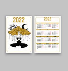 Tarot calendar for 2022 yoga girl meditating vector