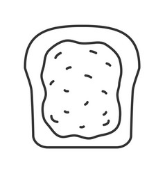 Toast with jam or butter linear icon vector