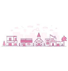 Town street - modern thin line design style vector