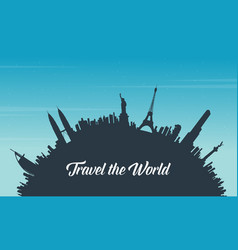 Travel to world and sky background vector