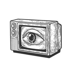 tv eye on screen sketch vector image