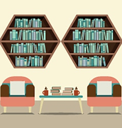Two sofas with hexagon bookshelves vector