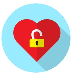 Unlock heart vector