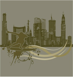 Vintage city background with surfer vector