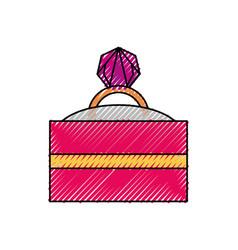 Wedding ring gift box vector