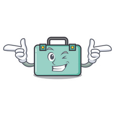 Wink suitcase character cartoon style vector