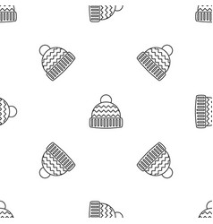 winter hat pattern seamless vector image