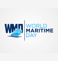 Wmd - world maritime day flat style vector