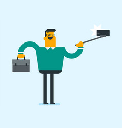businessman holding stick and making selfie photo vector image