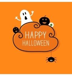 Ghost pumpkin eyeball hanging spider happy vector