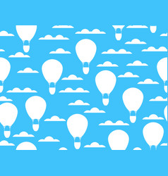 hot air balloon in clouds seamless pattern vector image