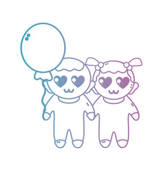 line cute babies together with hairstyle and vector image vector image