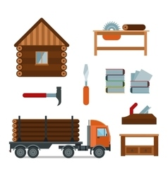 Lumberjack woodworking tools icons vector image vector image
