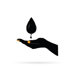 oil black gold in hand vector image vector image
