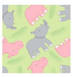 rhino and hippo pattern vector image vector image