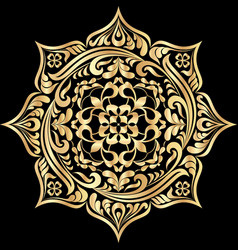 round floral tattoo golden mandala pattern on vector image