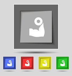 Arm muscle with dumbbell in hand icon sign on vector image